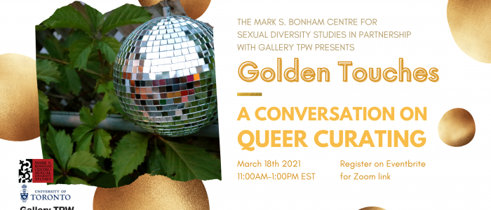 A banner featuring an image of a disco ball against greenery, containing the event title, date, time, and the Bonham Centre, University of Toronto, and Gallery TPW logos.