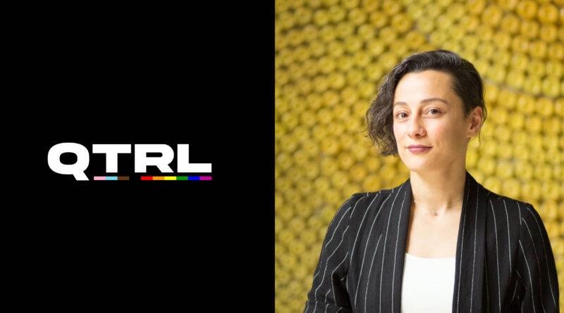 Elif Sari's portrait photo beside the QTRL logo on a black background.
