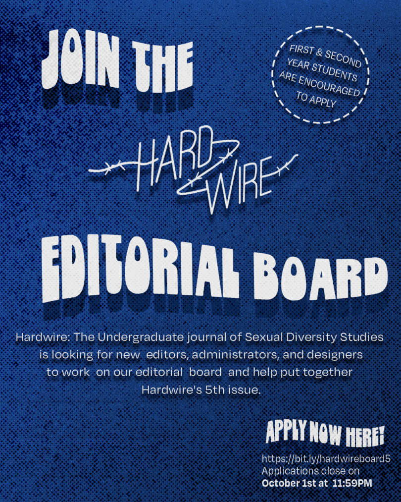 """White text on blue background stating """"Join the Hardwire Editorial Board"""". First and second year students are encouraged to apply. See linked page for application info and deadline."""