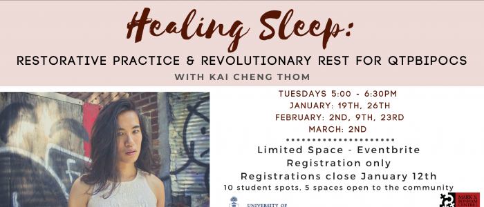 Banner for Kai Cheng Thom's Healing Sleep workshop, containing the title and dates and a picture of Kai Cheng Thom in a white shirt looking at the camera, against a background wall that has graffiti on it.