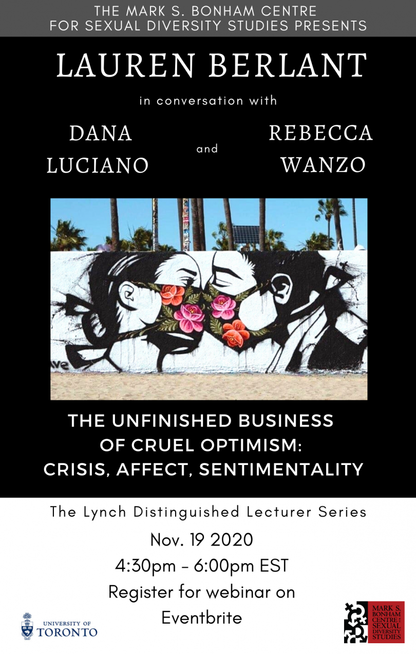 Poster for the Lynch Lecture featuring a picture of street art by Pony Wave where two faces imitate the act of kissing while wearing floral face masks. The title and speaker's names are on a black background, with the event date and other details on the bottom, alongside sponsors.