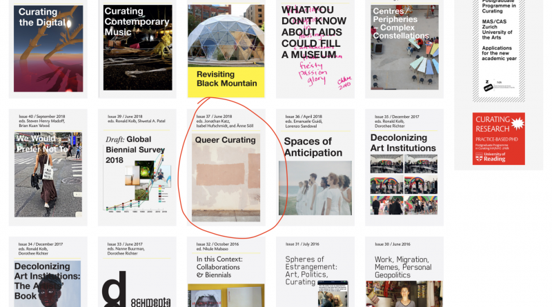 A series of issue covers for On Curating journal are displayed, with a circle drawn around one. The circled issue is issue 37, titled Queer Curating.