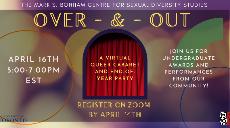 A banner with a background of bokeh lights in a muted purple and yellow colour scheme. A red stage curtain is centred as if seen through an archway, and the text describing the event title and details are on a darker rectangle in the centre of the banner, including the University of Toronto and Bonham Centre logos.