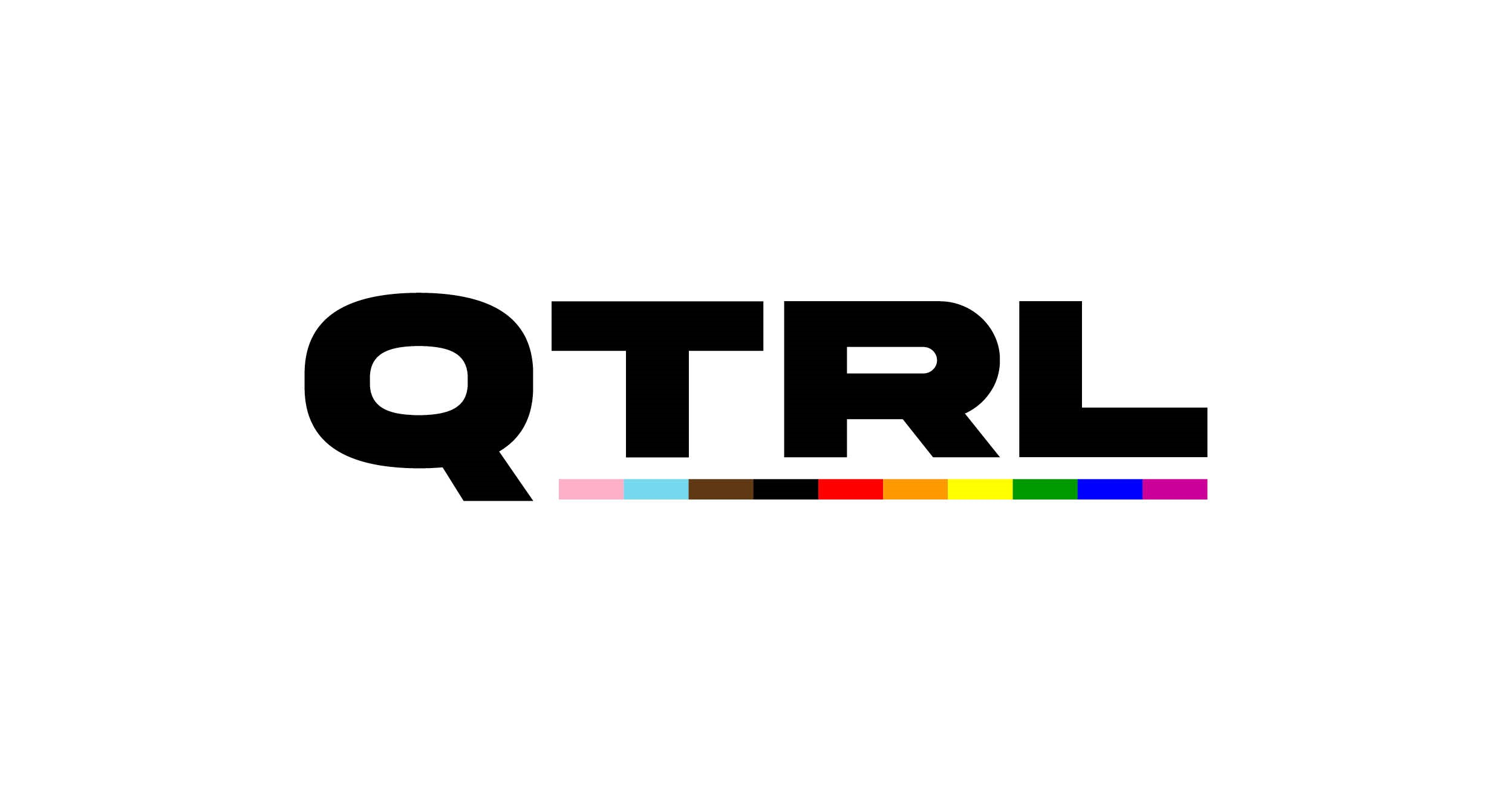 Queer Trans Research Lab logo featuring the letters QTRL in big block text, with an underline underneath in the colours of the BIPOC-inclusive pride flag featuring the trans and rainbow colours.