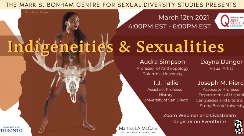 Indigeneities & Sexualities banner centering Dayna Danger's art: a photo of a nude model with dark skin holding a large skull of a deer between their legs. The text on the banner includes the sponsor information, event time, and the names of panelists with their titles.