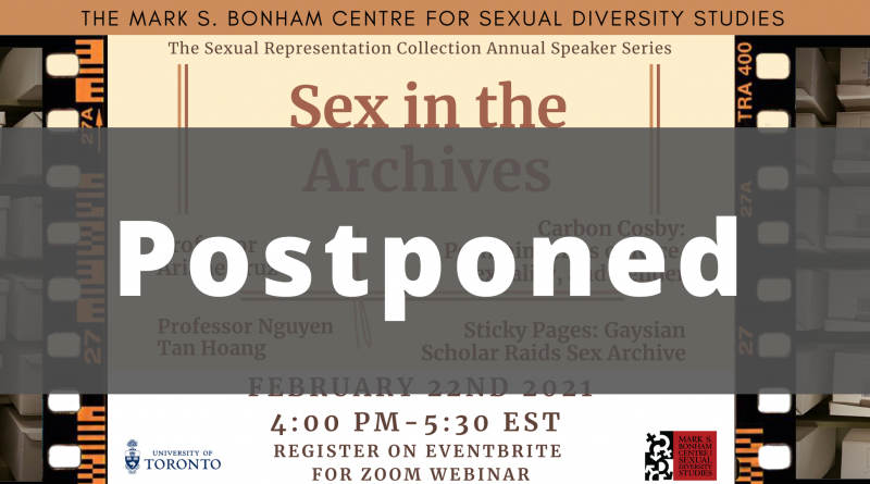 """A banner image for Sex in the Archives, with large text stating """"Postponed"""" over the previous image."""