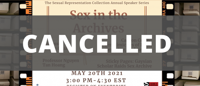 "The banner for Sex in the Archives, overlaid with the word ""Cancelled"" overlaid over the image."