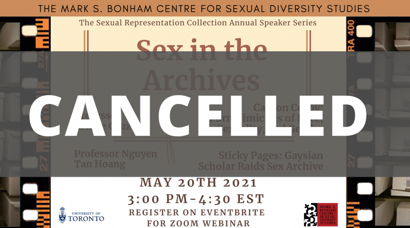 """The banner for Sex in the Archives, overlaid with the word """"Cancelled"""" overlaid over the image."""