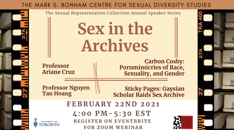 A banner image for Sex in the Archives, featuring the title on a cream background framed by images of the boxes in the Sexual Representation Collection edited to look like they are on old film strips. The banner contains Professor Ariane Cruz and Professor Nguyen Tan Hoang's names, the titles of their talks, and the date of the event, Monday, February 22, 2021 at 4 PM EST – 5:30 PM EST on a Zoom webinar.