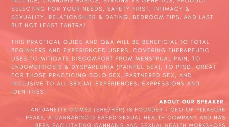 A poster of white text and red background including the information contained in the event post, along with the logo for the Sex Salon and Bonham Centre.