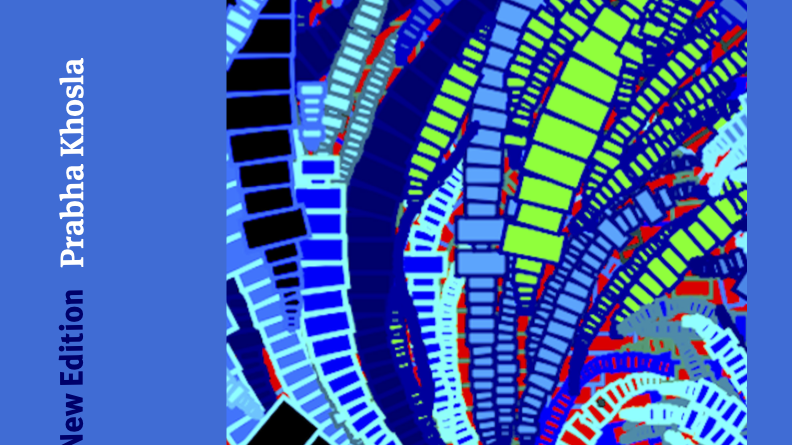 The cover of Labour Pride: What Our Unions Have Done for Us by Prabha Khosla. Blue background and white text with an abstract illustration of swirling rectangles in predominantly various blue shades with some red and green.